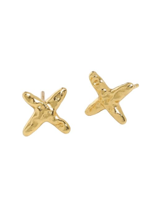 gold [with pure Tremella plug] 925 Sterling Silver Cross Minimalist Stud Earring